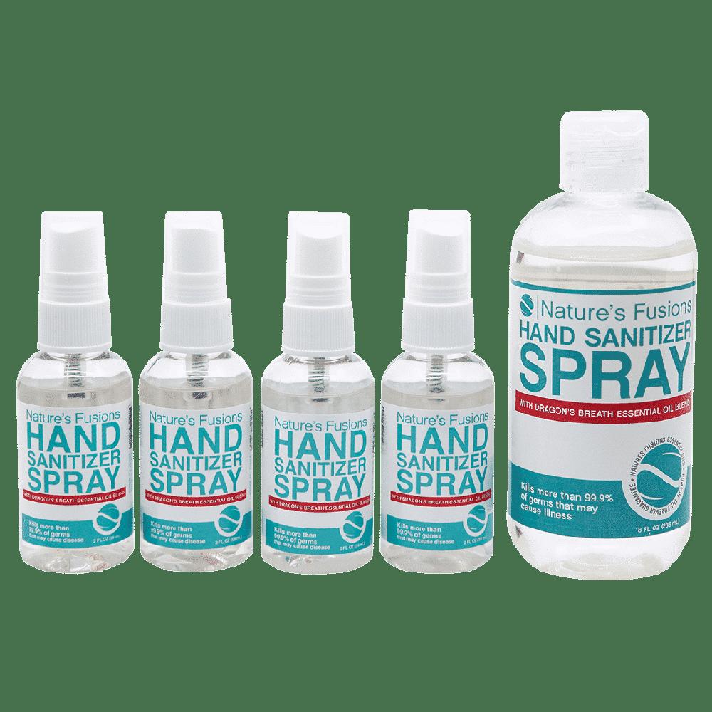 Four 2-oz spray bottles and one 8-oz refill bottle