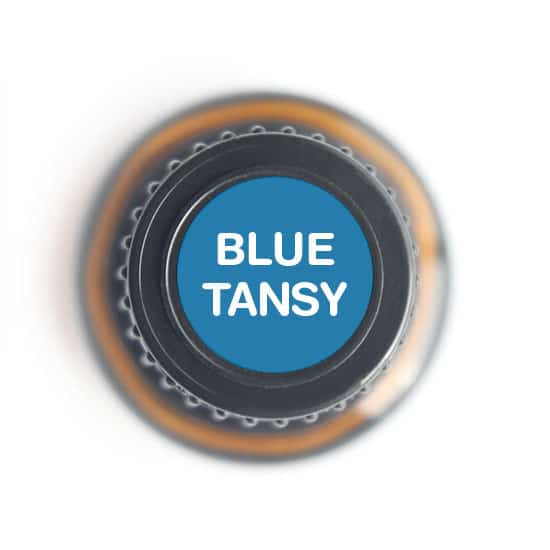 labeled top of blue tansy bottle