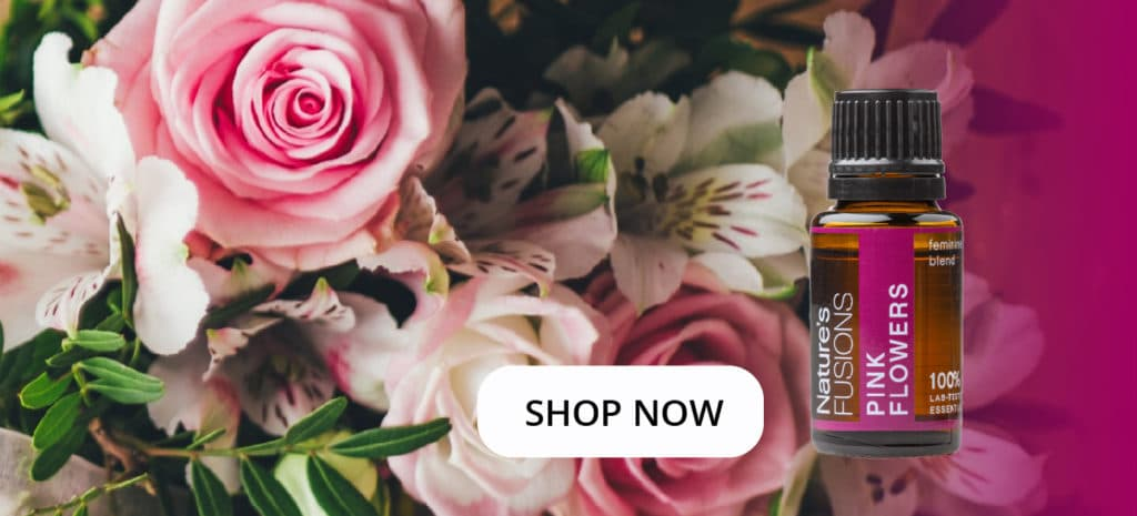 """flower bouquet with Pink Flowers oil bottle and clickable """"SHOP NOW"""""""