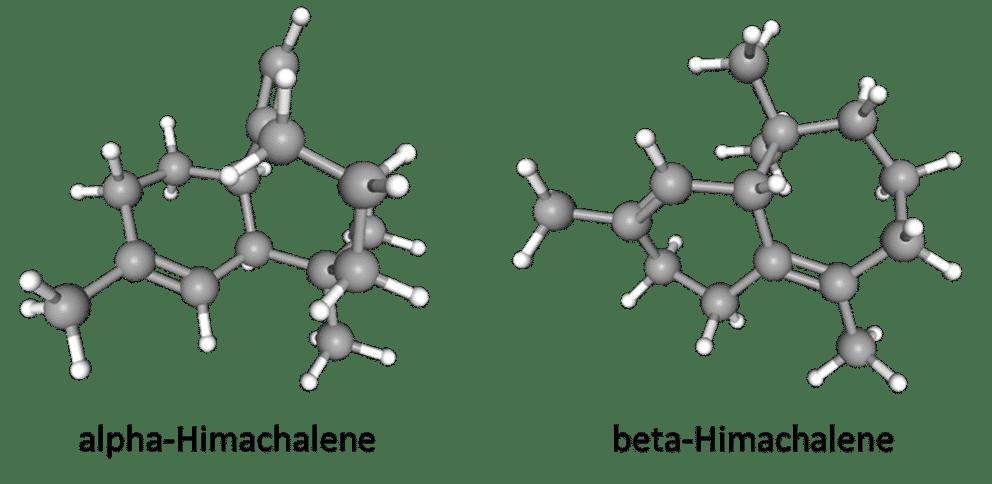 3D alpha-Himachalene and beta-Himachalene chemical structures