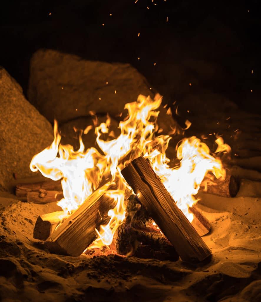 burning campfire