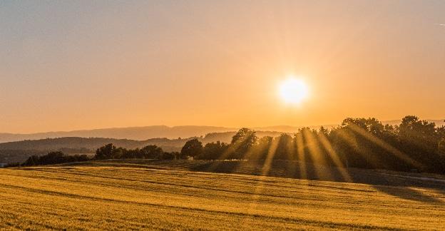 sun over plains