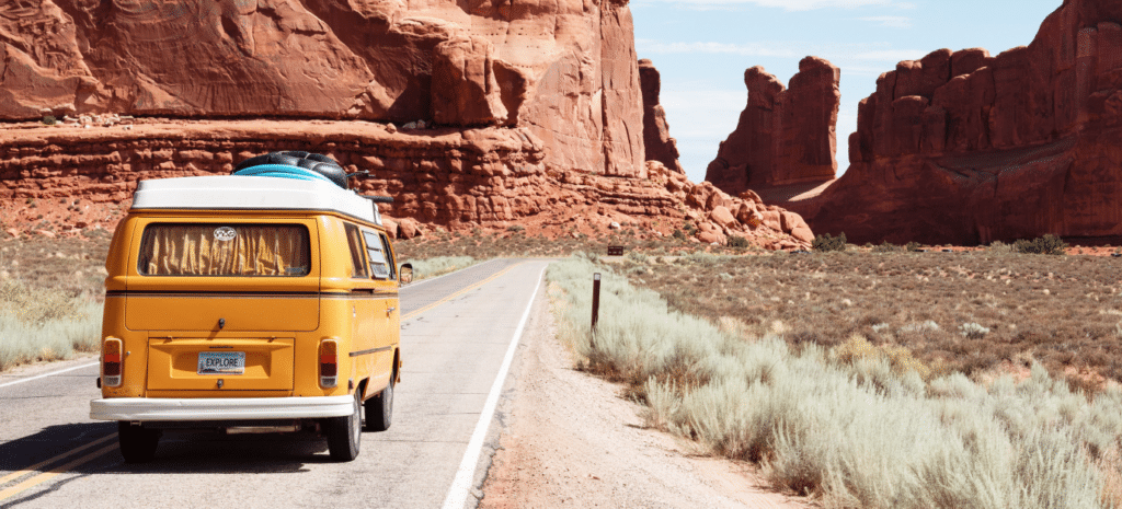 van driving down road