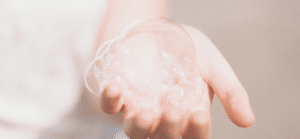 soap bubbles on hand