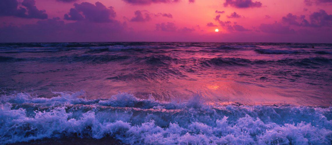 purple sunset at a beach